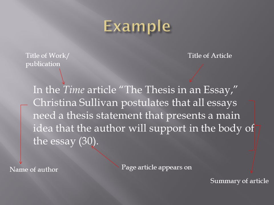 In the Time article The Thesis in an Essay, Christina Sullivan postulates that all essays need a thesis statement that presents a main idea that the author will support in the body of the essay (30).