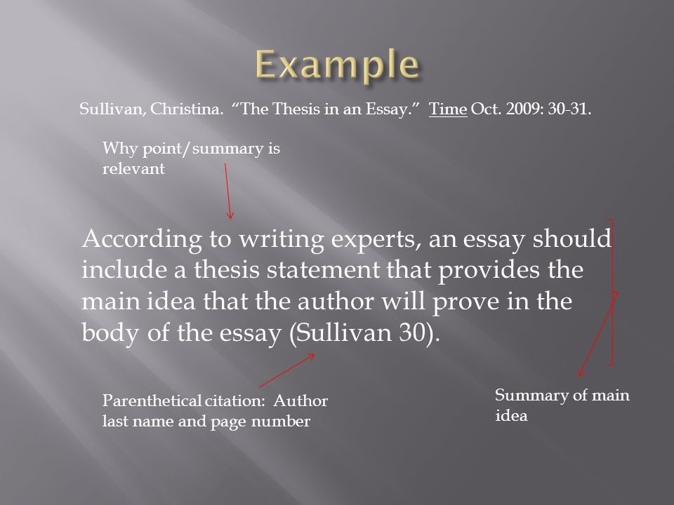 According to writing experts, an essay should include a thesis statement that provides the main idea that the author will prove in the body of the essay (Sullivan 30).