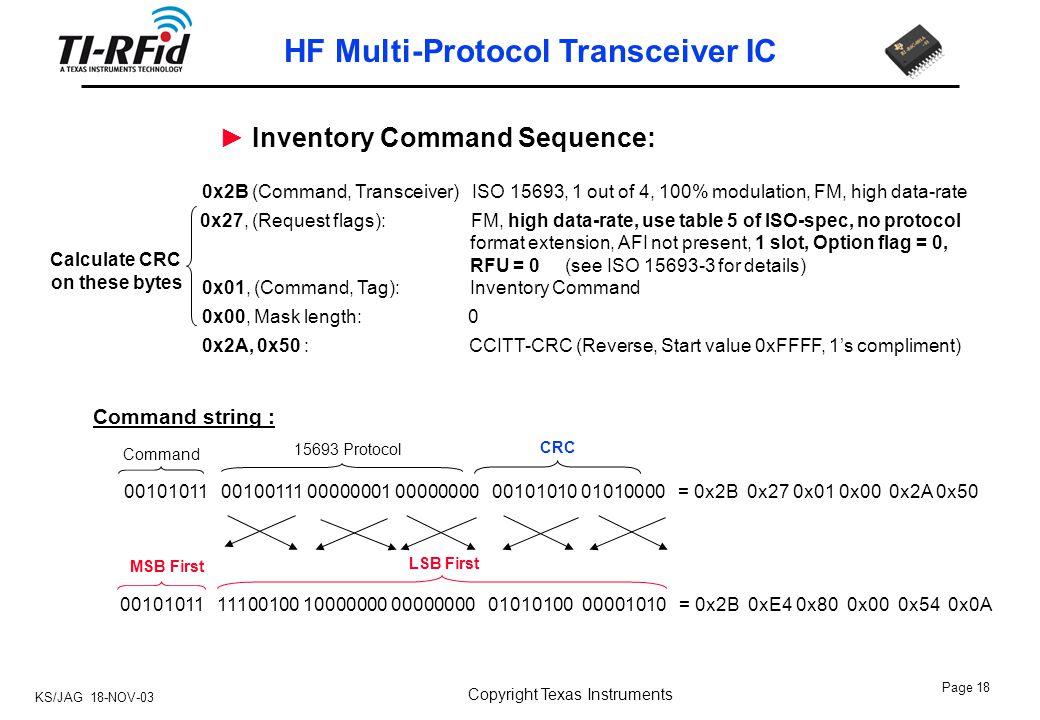KS/JAG 18-NOV-03 Page 1 HF Multi-Protocol Transceiver IC Copyright