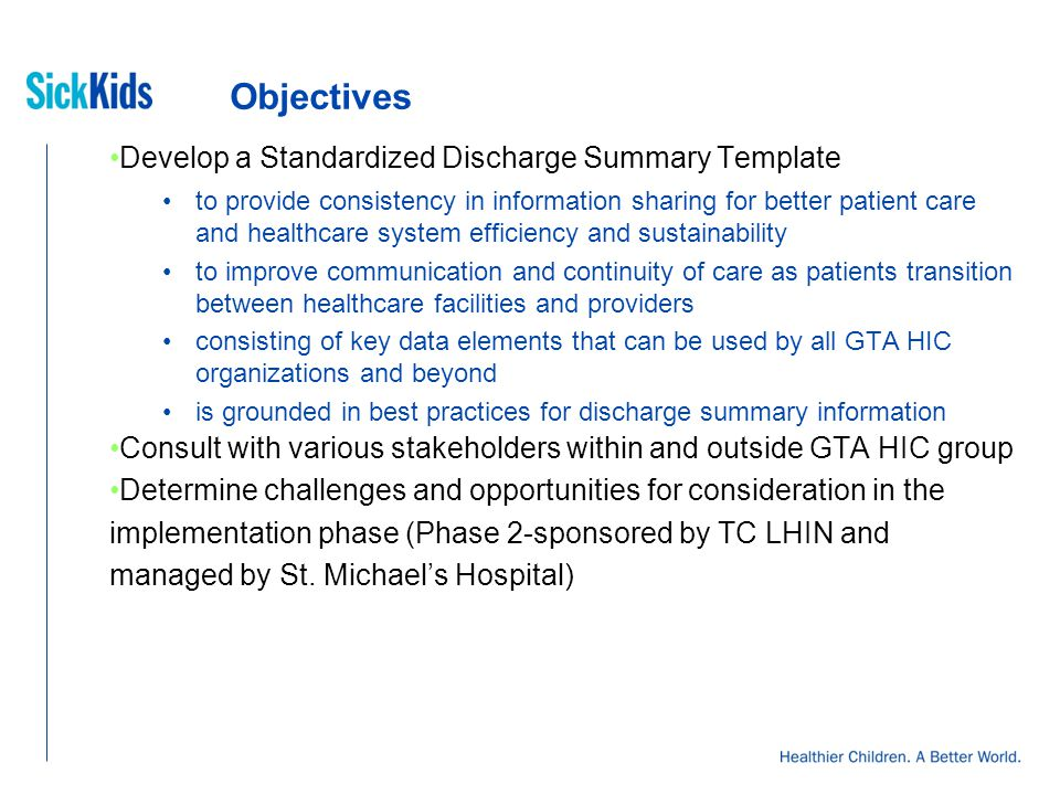 Standardized Discharge Summary Template Project Mary Shanahan ...