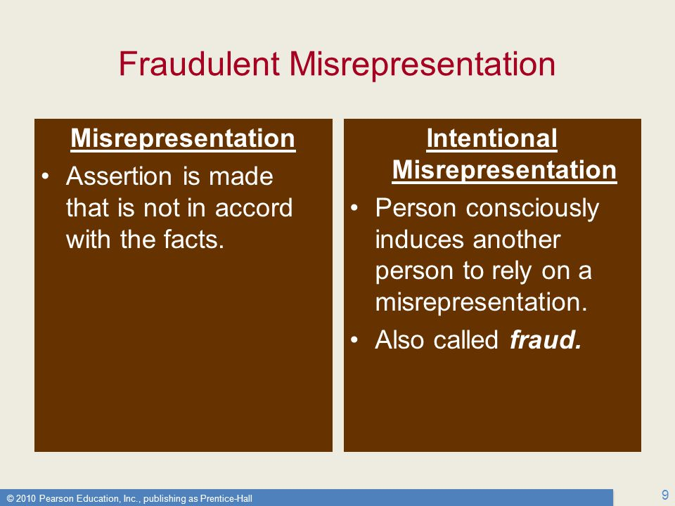 © 2010 Pearson Education, Inc., publishing as Prentice-Hall 9 Fraudulent Misrepresentation Misrepresentation Assertion is made that is not in accord with the facts.