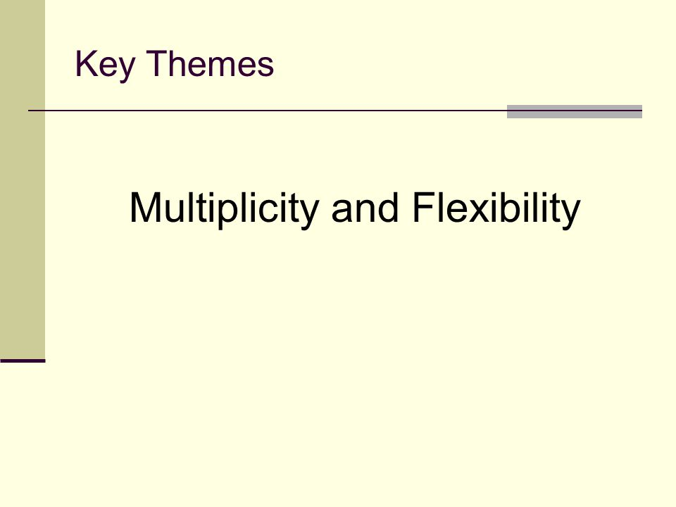 Key Themes Multiplicity and Flexibility