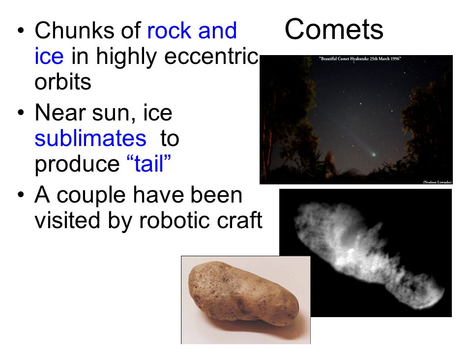 Comets Chunks of rock and ice in highly eccentric orbits Near sun, ice sublimates to produce tail A couple have been visited by robotic craft