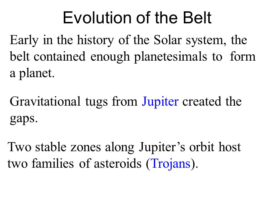 Evolution of the Belt Early in the history of the Solar system, the belt contained enough planetesimals to form a planet.