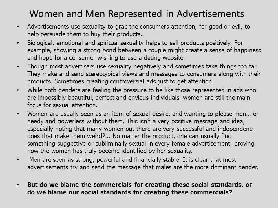 By Myriah Saulnier. 2 Women and Men Represented in Advertisements ... 490261295