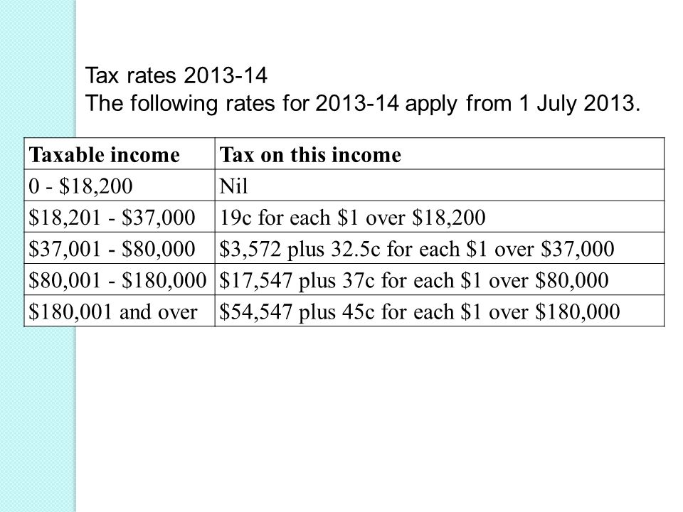 Tax rates The following rates for apply from 1 July 2013.
