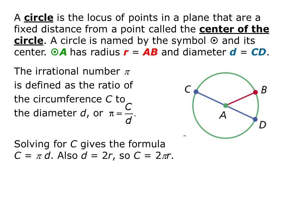 114 Circumference And Arc Length Objectives Develop And Apply The
