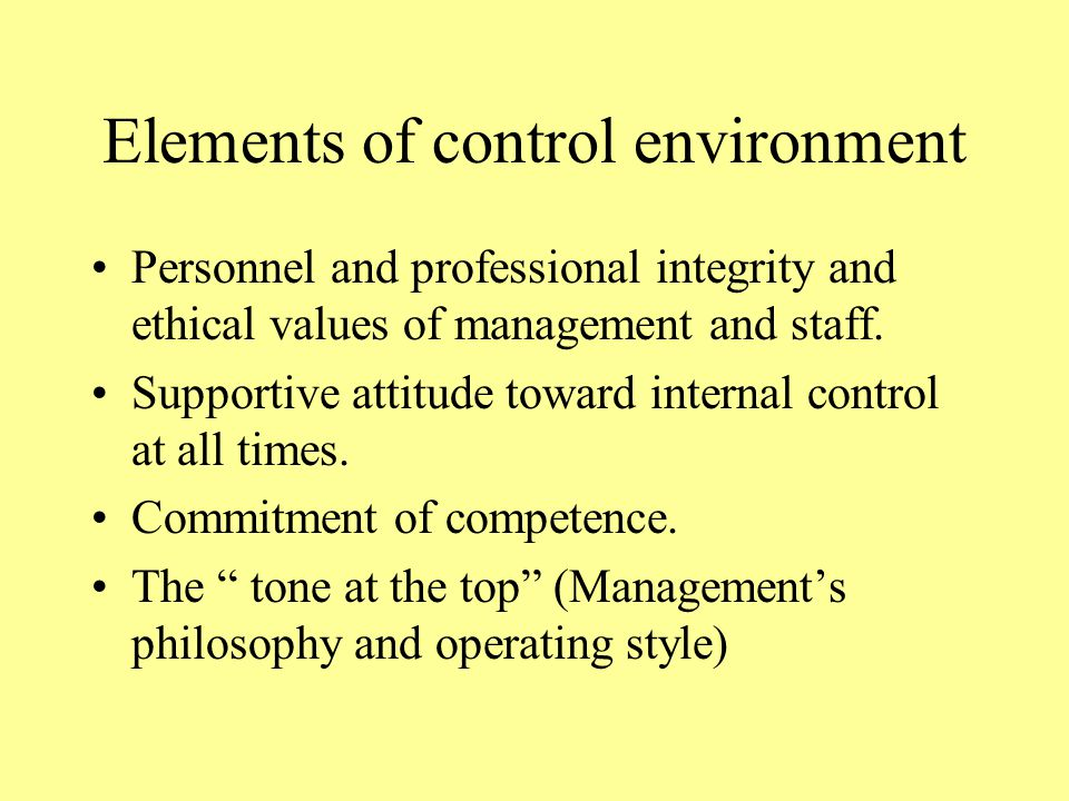Elements of control environment Personnel and professional integrity and ethical values of management and staff.