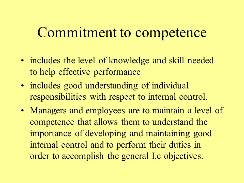 Commitment to competence includes the level of knowledge and skill needed to help effective performance includes good understanding of individual responsibilities with respect to internal control.