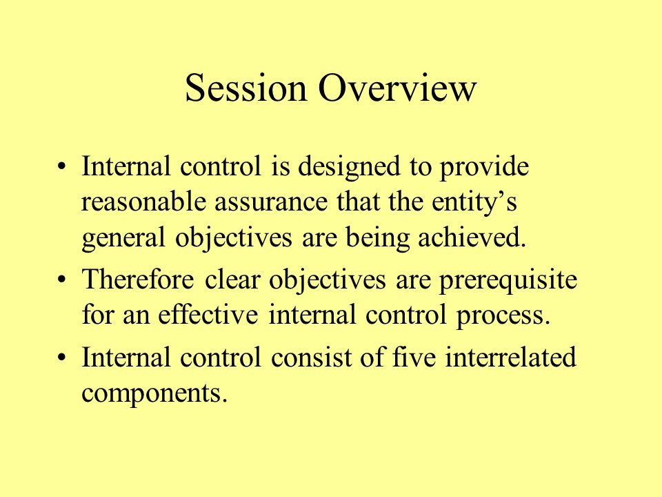 Session Overview Internal control is designed to provide reasonable assurance that the entity's general objectives are being achieved.