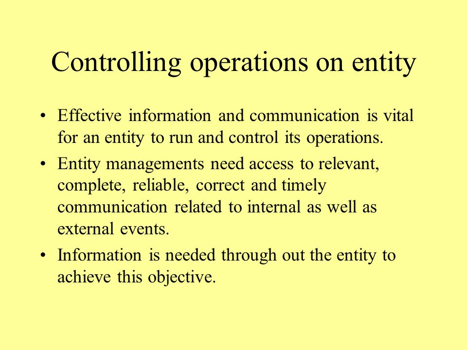 Controlling operations on entity Effective information and communication is vital for an entity to run and control its operations.