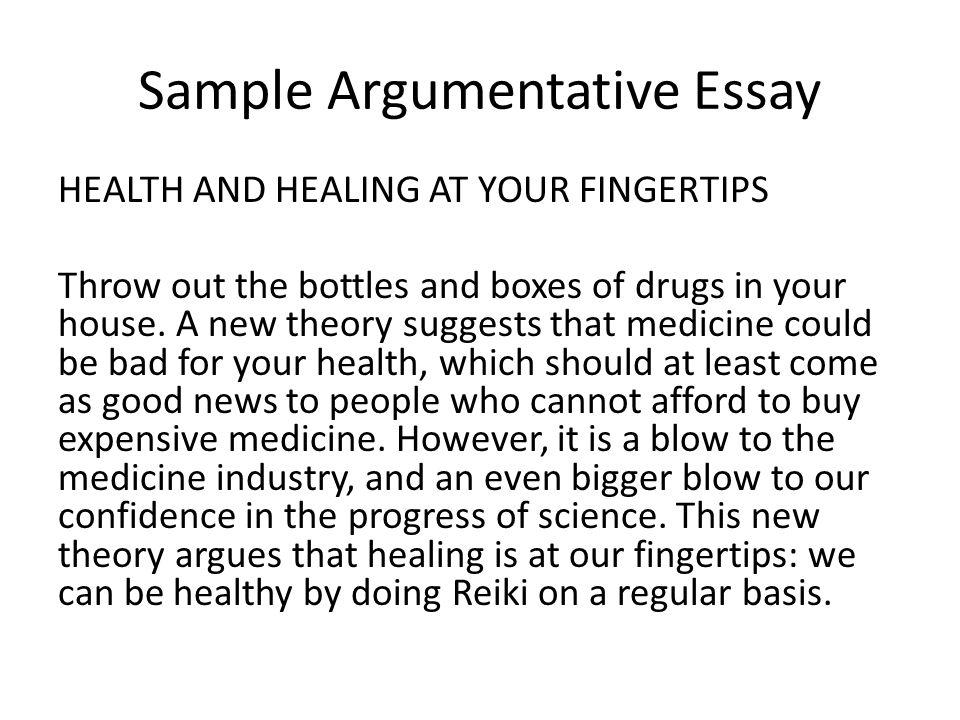 sample argumentative essay on drugs