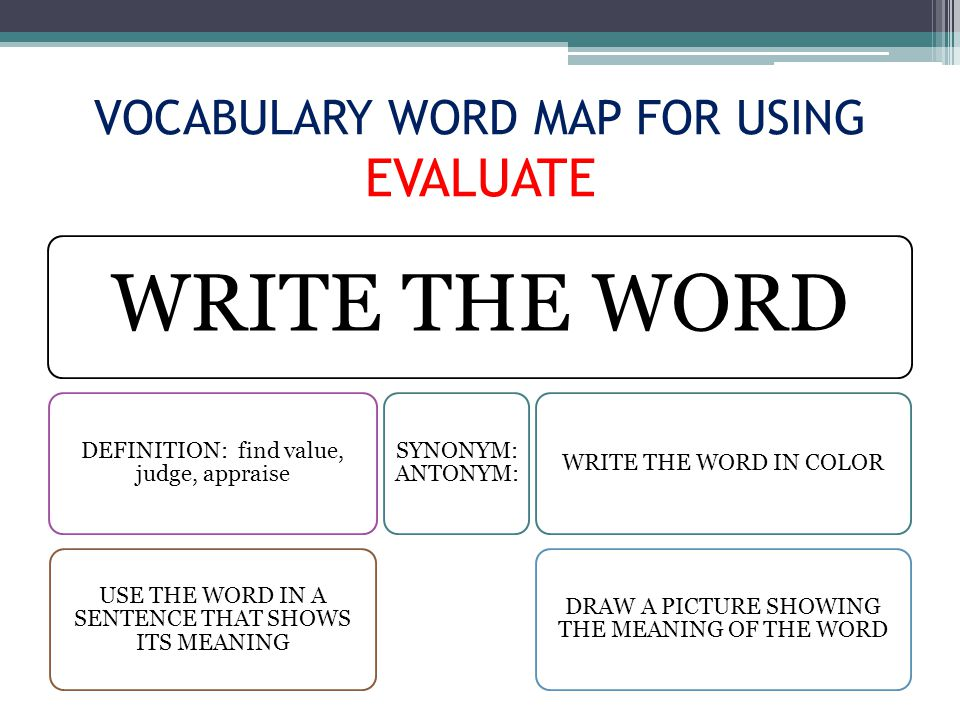 VOCABULARY WORD MAP FOR USING EVALUATE WRITE THE WORD DEFINITION: find value, judge, appraise USE THE WORD IN A SENTENCE THAT SHOWS ITS MEANING SYNONYM: ANTONYM: WRITE THE WORD IN COLOR DRAW A PICTURE SHOWING THE MEANING OF THE WORD