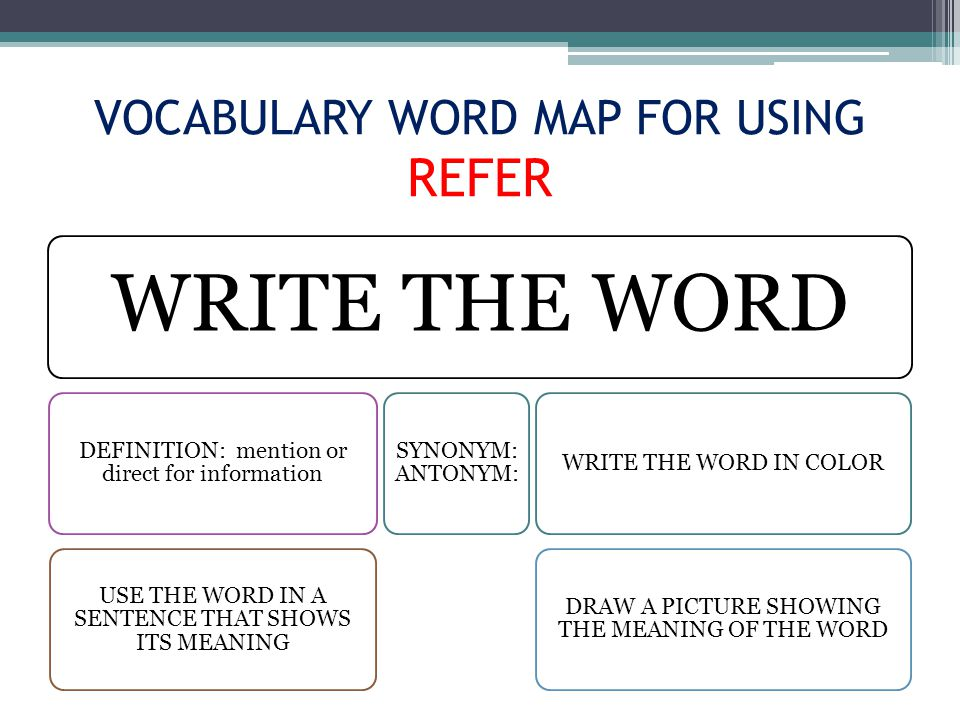 VOCABULARY WORD MAP FOR USING REFER WRITE THE WORD DEFINITION: mention or direct for information USE THE WORD IN A SENTENCE THAT SHOWS ITS MEANING SYNONYM: ANTONYM: WRITE THE WORD IN COLOR DRAW A PICTURE SHOWING THE MEANING OF THE WORD