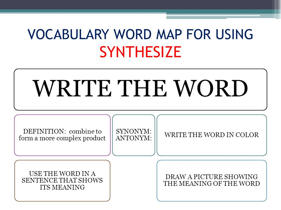 VOCABULARY WORD MAP FOR USING SYNTHESIZE WRITE THE WORD DEFINITION: combine to form a more complex product USE THE WORD IN A SENTENCE THAT SHOWS ITS MEANING SYNONYM: ANTONYM: WRITE THE WORD IN COLOR DRAW A PICTURE SHOWING THE MEANING OF THE WORD