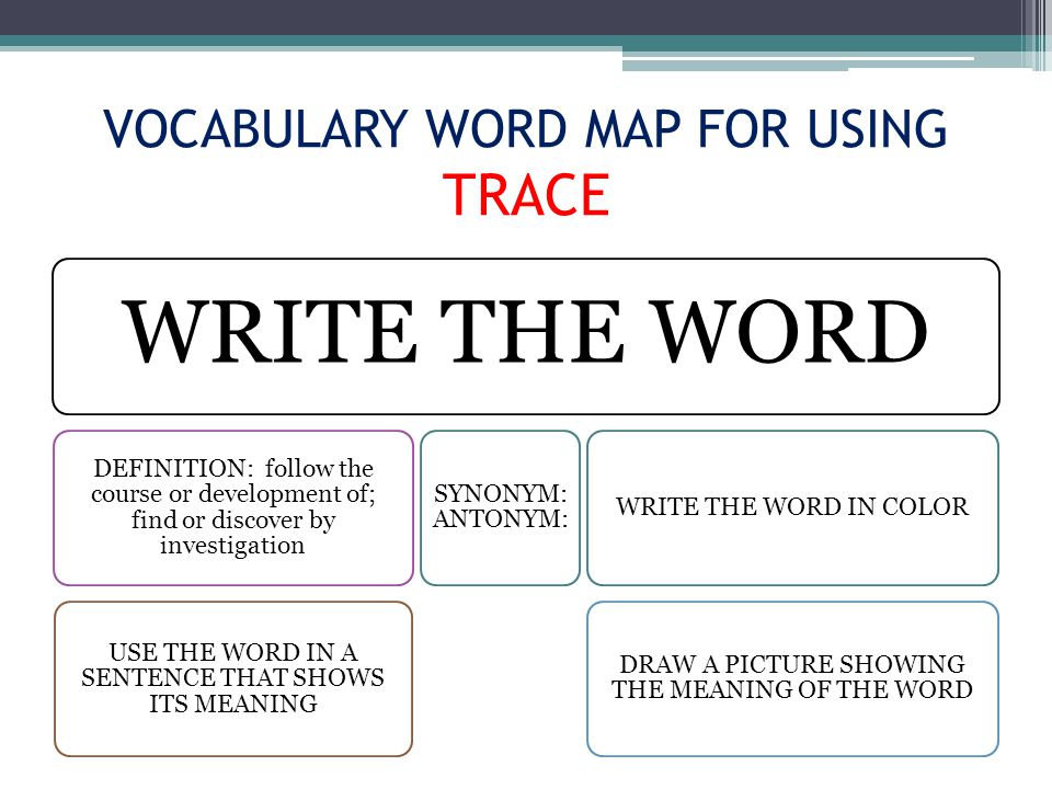 VOCABULARY WORD MAP FOR USING TRACE WRITE THE WORD DEFINITION: follow the course or development of; find or discover by investigation USE THE WORD IN A SENTENCE THAT SHOWS ITS MEANING SYNONYM: ANTONYM: WRITE THE WORD IN COLOR DRAW A PICTURE SHOWING THE MEANING OF THE WORD