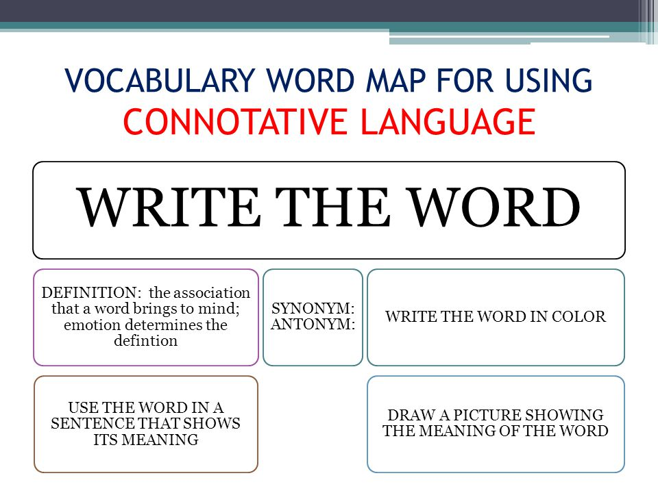 VOCABULARY WORD MAP FOR USING CONNOTATIVE LANGUAGE WRITE THE WORD DEFINITION: the association that a word brings to mind; emotion determines the defintion USE THE WORD IN A SENTENCE THAT SHOWS ITS MEANING SYNONYM: ANTONYM: WRITE THE WORD IN COLOR DRAW A PICTURE SHOWING THE MEANING OF THE WORD