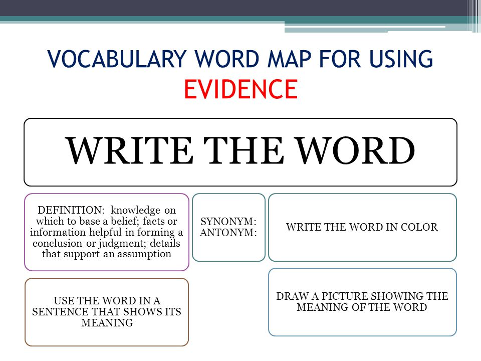 VOCABULARY WORD MAP FOR USING EVIDENCE WRITE THE WORD DEFINITION: knowledge on which to base a belief; facts or information helpful in forming a conclusion or judgment; details that support an assumption USE THE WORD IN A SENTENCE THAT SHOWS ITS MEANING SYNONYM: ANTONYM: WRITE THE WORD IN COLOR DRAW A PICTURE SHOWING THE MEANING OF THE WORD