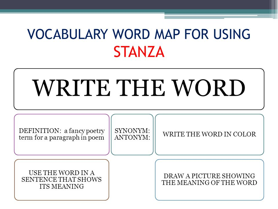VOCABULARY WORD MAP FOR USING STANZA WRITE THE WORD DEFINITION: a fancy poetry term for a paragraph in poem USE THE WORD IN A SENTENCE THAT SHOWS ITS MEANING SYNONYM: ANTONYM: WRITE THE WORD IN COLOR DRAW A PICTURE SHOWING THE MEANING OF THE WORD