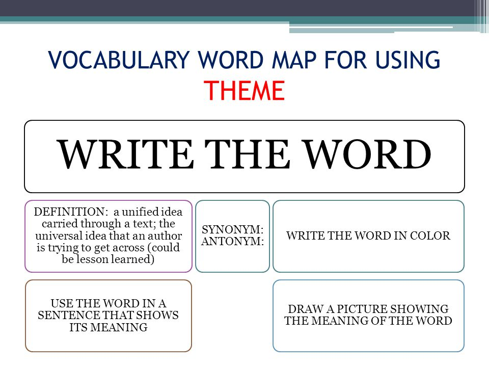 VOCABULARY WORD MAP FOR USING THEME WRITE THE WORD DEFINITION: a unified idea carried through a text; the universal idea that an author is trying to get across (could be lesson learned) USE THE WORD IN A SENTENCE THAT SHOWS ITS MEANING SYNONYM: ANTONYM: WRITE THE WORD IN COLOR DRAW A PICTURE SHOWING THE MEANING OF THE WORD