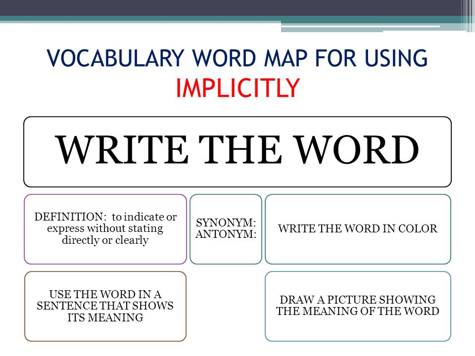 VOCABULARY WORD MAP FOR USING IMPLICITLY WRITE THE WORD DEFINITION: to indicate or express without stating directly or clearly USE THE WORD IN A SENTENCE THAT SHOWS ITS MEANING SYNONYM: ANTONYM: WRITE THE WORD IN COLOR DRAW A PICTURE SHOWING THE MEANING OF THE WORD