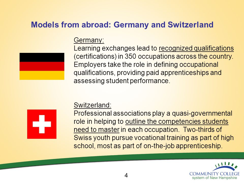 Models from abroad: Germany and Switzerland 4 Germany: Learning exchanges lead to recognized qualifications (certifications) in 350 occupations across the country.