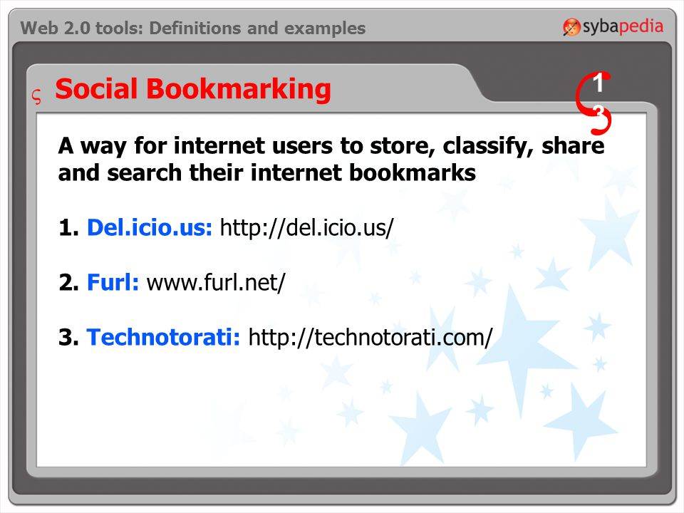 A way for internet users to store, classify, share and search their internet bookmarks 1.