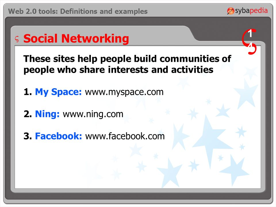 Social Networking These sites help people build communities of people who share interests and activities 1.