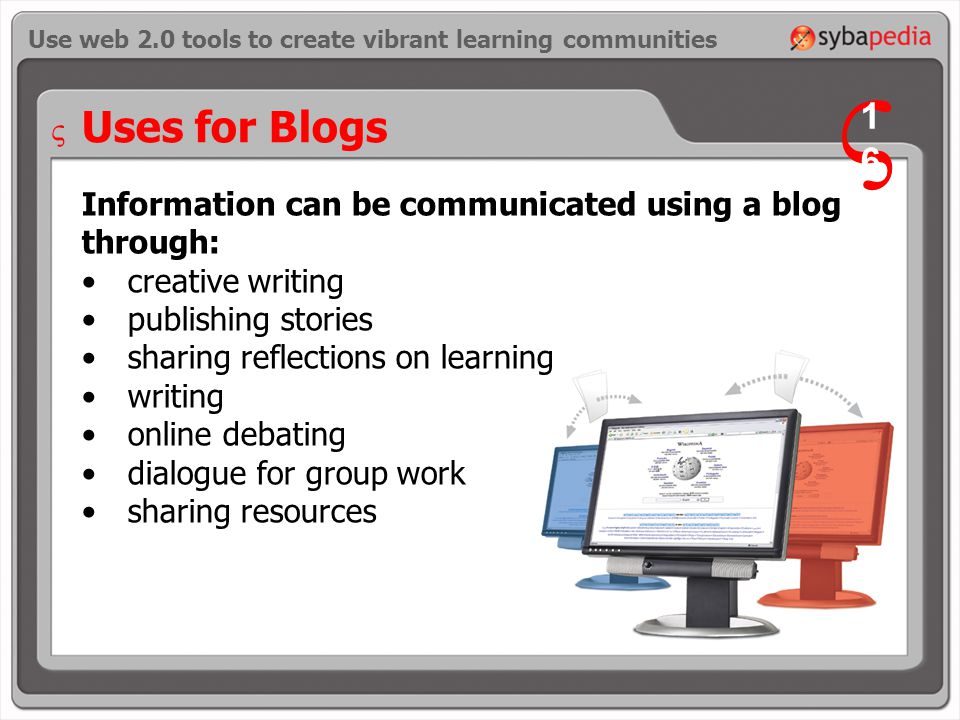 Uses for Blogs Information can be communicated using a blog through: creative writing publishing stories sharing reflections on learning writing online debating dialogue for group work sharing resources Use web 2.0 tools to create vibrant learning communities V 1616 V