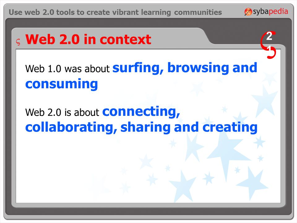 Web 1.0 was about surfing, browsing and consuming Web 2.0 is about connecting, collaborating, sharing and creating Use web 2.0 tools to create vibrant learning communities Web 2.0 in context V 2121 V