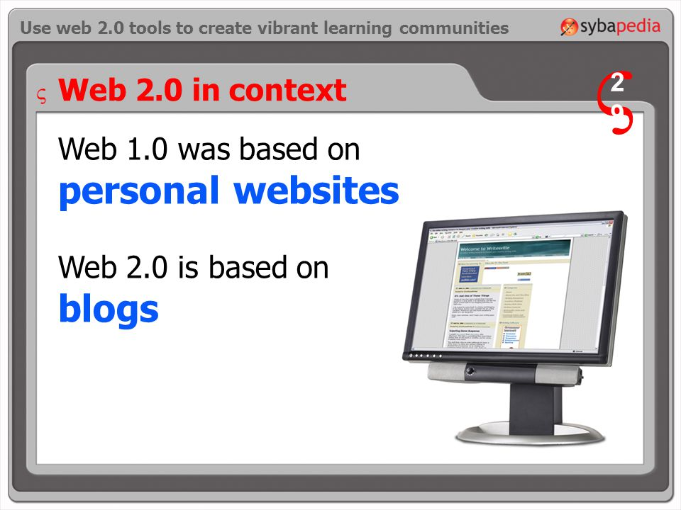 Use web 2.0 tools to create vibrant learning communities Web 2.0 in context Web 1.0 was based on personal websites Web 2.0 is based on blogs V 2929 V