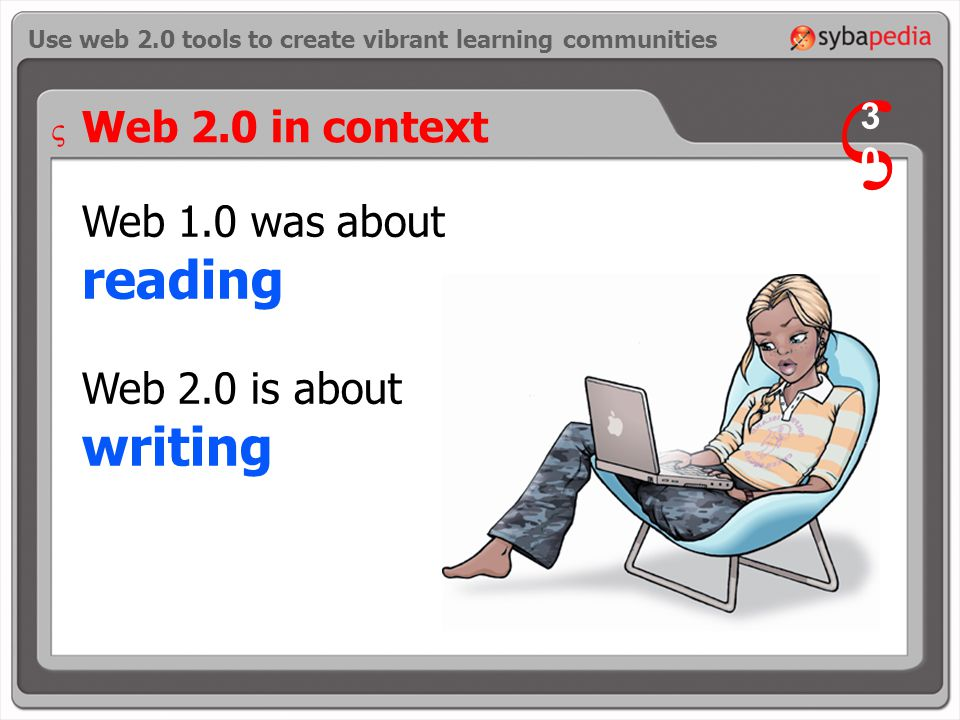 Web 1.0 was about reading Web 2.0 is about writing Use web 2.0 tools to create vibrant learning communities Web 2.0 in context V 3030 V