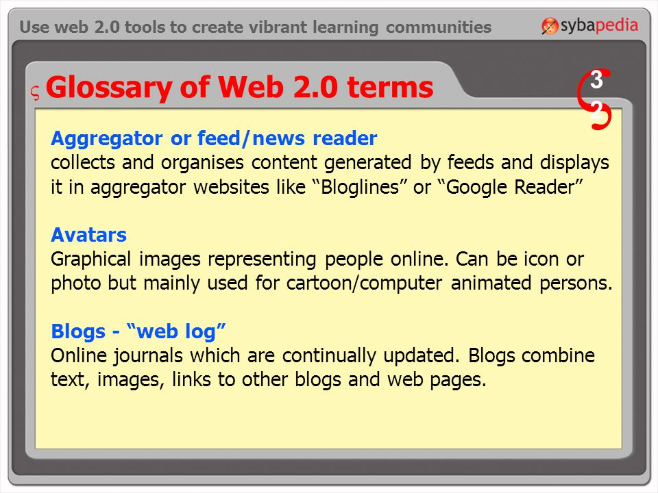 Glossary of Web 2.0 terms Aggregator or feed/news reader collects and organises content generated by feeds and displays it in aggregator websites like Bloglines or Google Reader Avatars Graphical images representing people online.