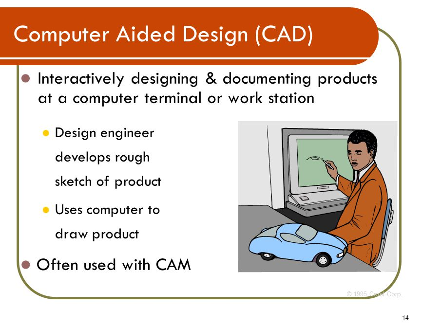 14 Interactively designing & documenting products at a computer terminal or work station © 1995 Corel Corp.