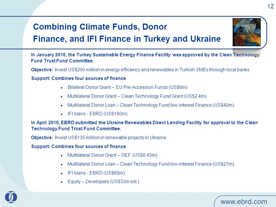 In January 2010, the Turkey Sustainable Energy Finance Facility was approved by the Clean Technology Fund Trust Fund Committee.