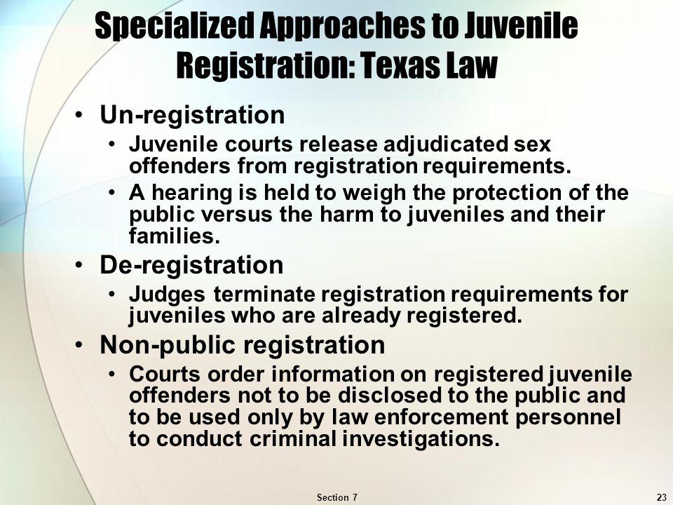 Criminal juvenile offender policy sex