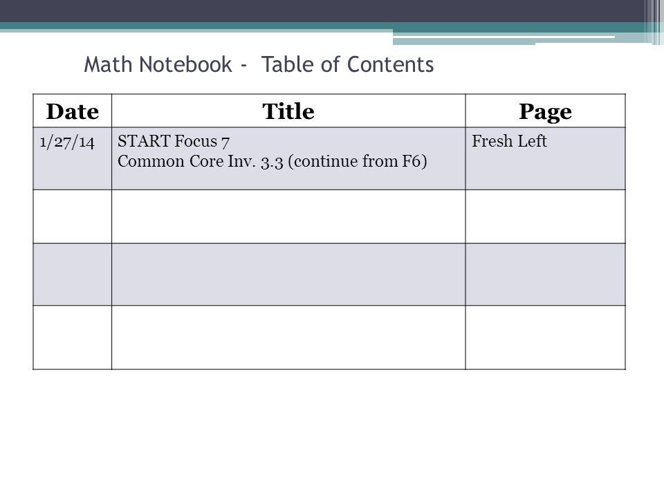Focus 7 6 th Grade Math Relationships in the Coordinate
