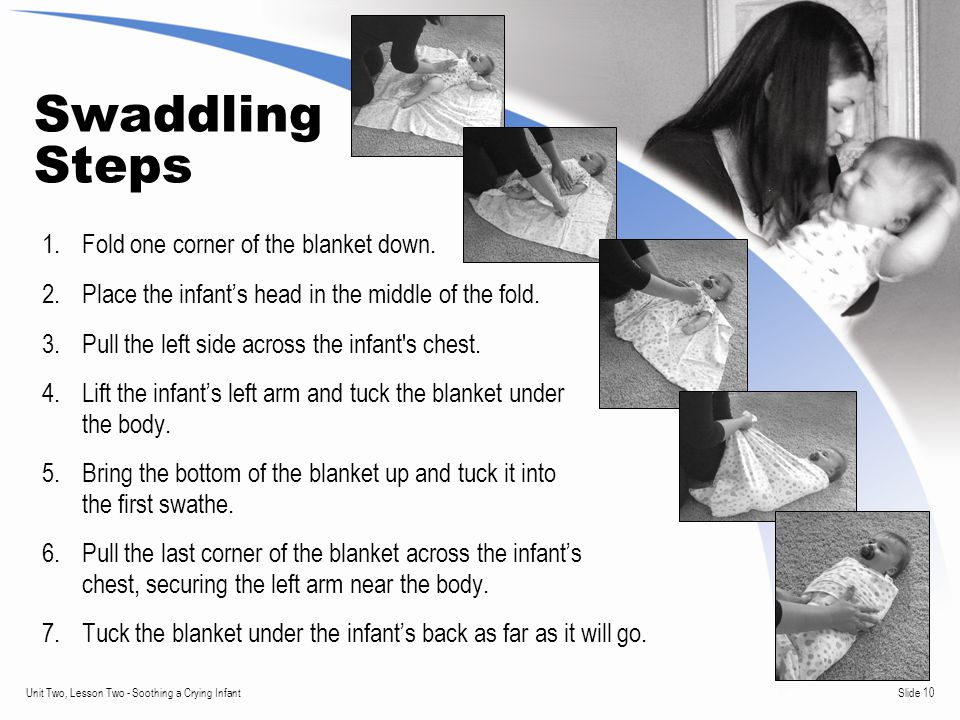 Slide 10Unit Two, Lesson Two - Soothing a Crying Infant Swaddling Steps 1.Fold one corner of the blanket down.