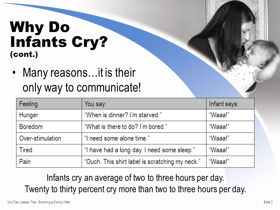 Slide 3Unit Two, Lesson Two - Soothing a Crying Infant Why Do Infants Cry.
