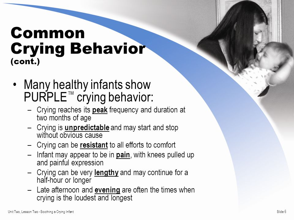 Slide 6Unit Two, Lesson Two - Soothing a Crying Infant Common Crying Behavior (cont.) Many healthy infants show PURPLE ™ crying behavior: –Crying reaches its peak frequency and duration at two months of age –Crying is unpredictable and may start and stop without obvious cause –Crying can be resistant to all efforts to comfort –Infant may appear to be in pain, with knees pulled up and painful expression –Crying can be very lengthy and may continue for a half-hour or longer –Late afternoon and evening are often the times when crying is the loudest and longest