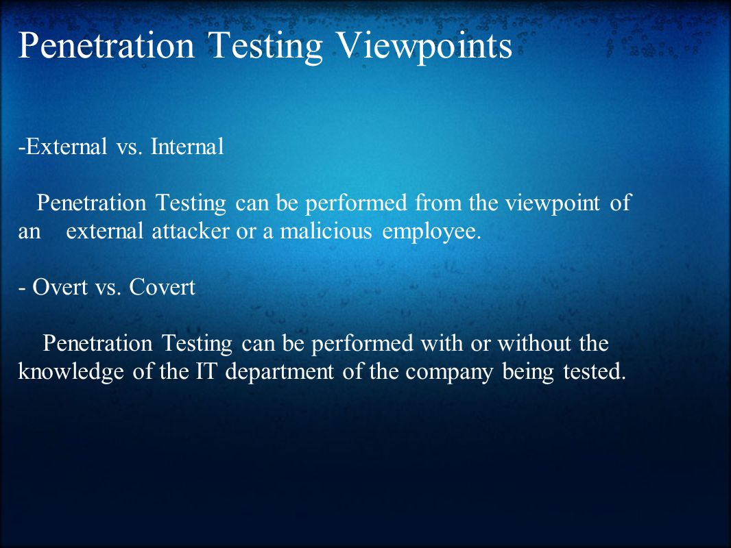 Penetration Testing Viewpoints -External vs.