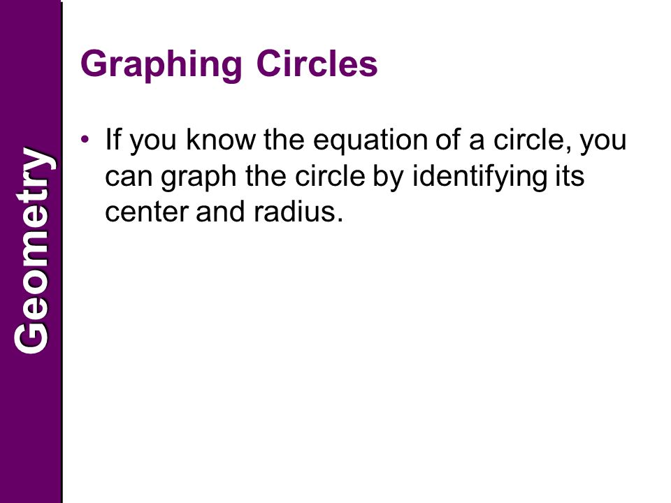 GeometryGeometry Graphing Circles If you know the equation of a circle, you can graph the circle by identifying its center and radius.