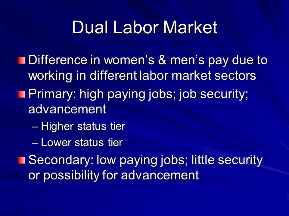 Dual Labor Market Difference in women's & men's pay due to working in different labor market sectors Primary: high paying jobs; job security; advancement –Higher status tier –Lower status tier Secondary: low paying jobs; little security or possibility for advancement