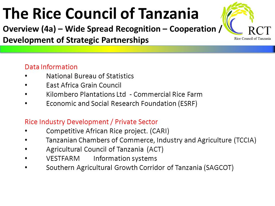 Rice Council of Tanzania (RCT) Progress Report for USAID