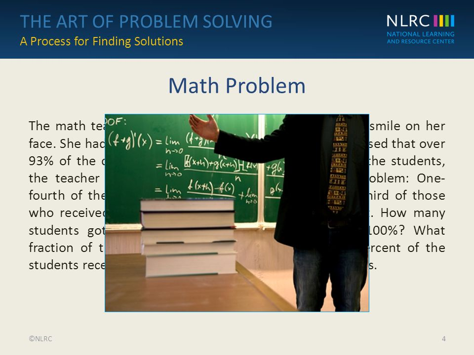 THE ART OF PROBLEM SOLVING A Process for Finding Solutions THE ART ...