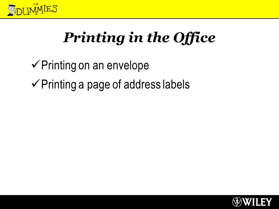 4 printing in the office printing on an envelope printing a page of address labels
