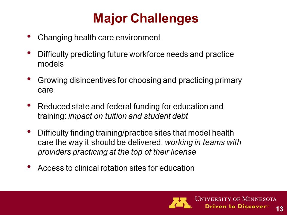 Major Challenges Changing health care environment Difficulty predicting future workforce needs and practice models Growing disincentives for choosing and practicing primary care Reduced state and federal funding for education and training: impact on tuition and student debt Difficulty finding training/practice sites that model health care the way it should be delivered: working in teams with providers practicing at the top of their license Access to clinical rotation sites for education 13