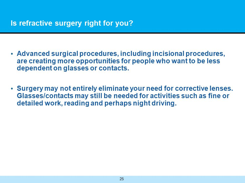 25 Is refractive surgery right for you.