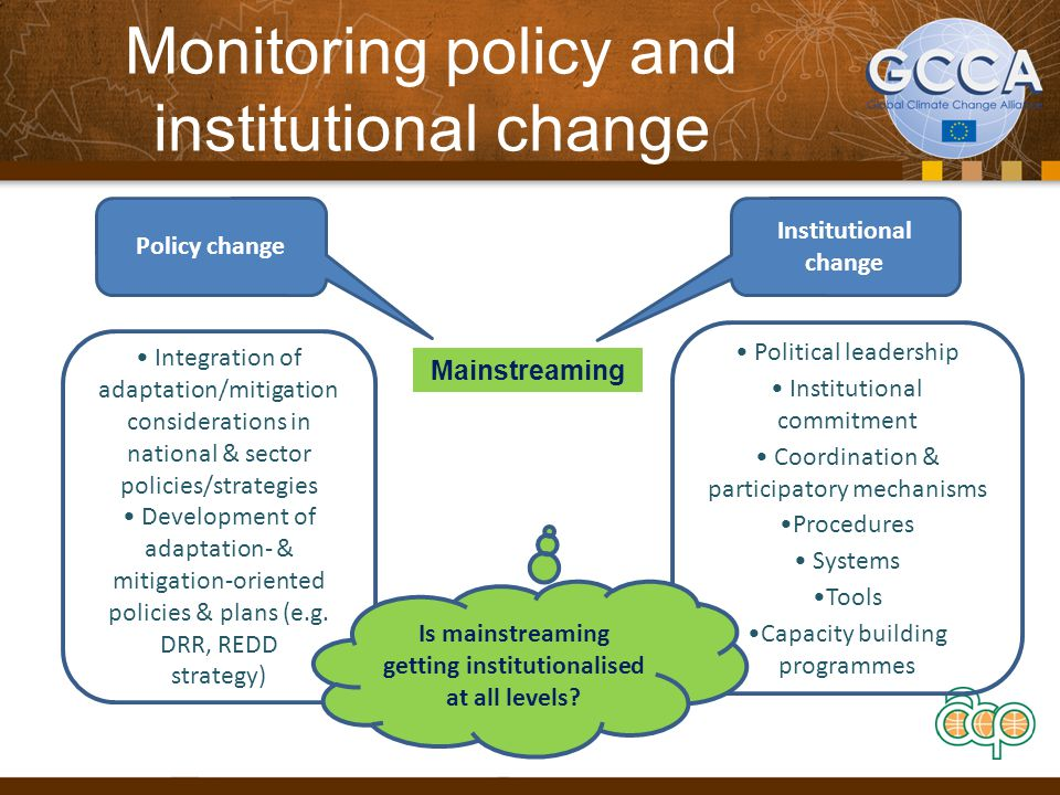 Monitoring policy and institutional change Mainstreaming Policy change Institutional change Integration of adaptation/mitigation considerations in national & sector policies/strategies Development of adaptation- & mitigation-oriented policies & plans (e.g.