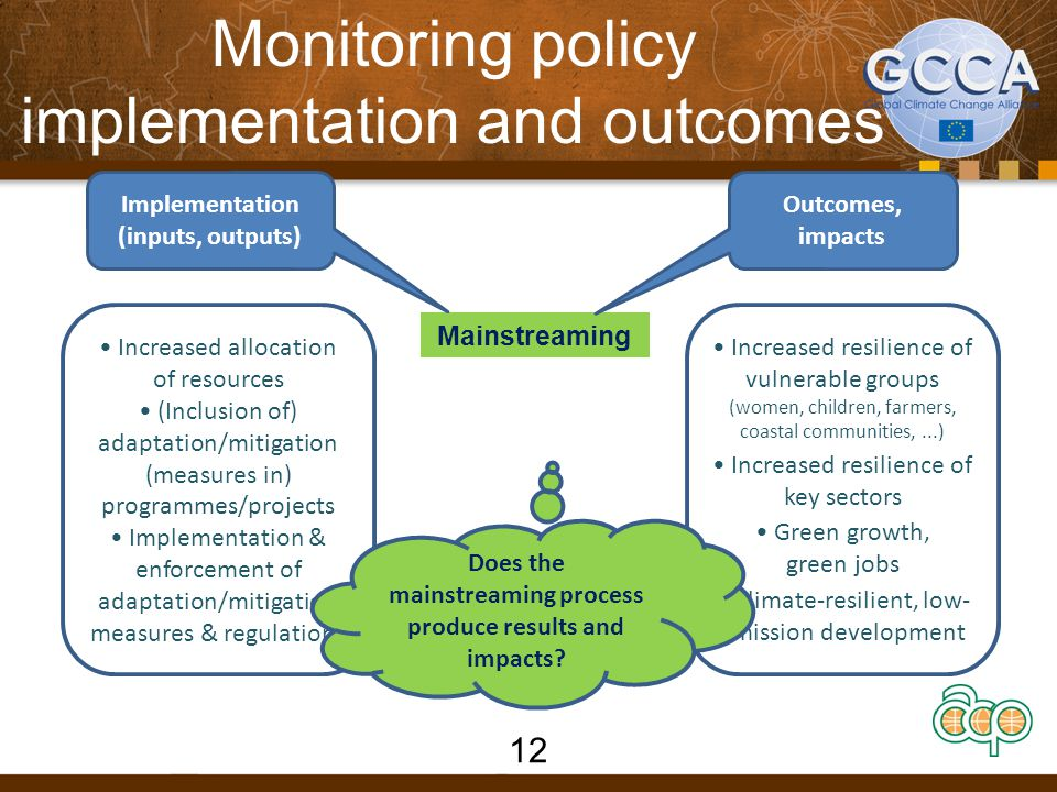 Monitoring policy implementation and outcomes Mainstreaming Implementation (inputs, outputs) Outcomes, impacts Increased allocation of resources (Inclusion of) adaptation/mitigation (measures in) programmes/projects Implementation & enforcement of adaptation/mitigation measures & regulations Increased resilience of vulnerable groups (women, children, farmers, coastal communities,...) Increased resilience of key sectors Green growth, green jobs Climate-resilient, low- emission development Does the mainstreaming process produce results and impacts.